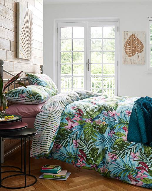Tropical leaf duvet cover set j d williams