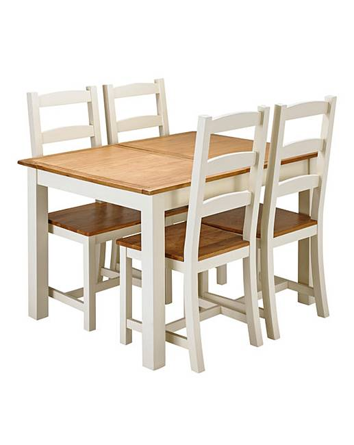 Harrogate Two Tone Oak Veneer Extending Dining Table With 4 Chairs