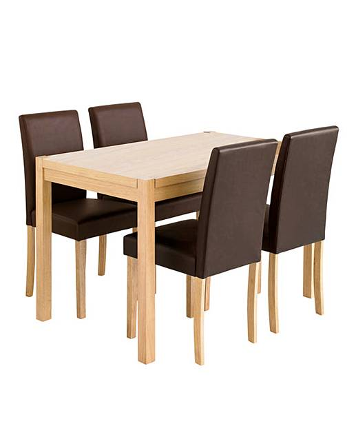 Oakham Oak Square Dining Table And 4 Mia Faux Leather Chairs