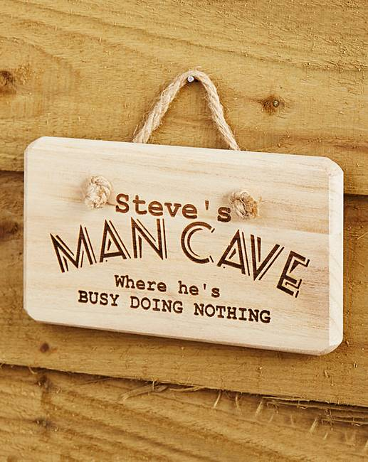 Personalised Wooden Man Cave Signs : Personalised man cave wooden sign premier