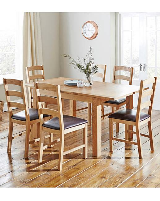 Harrogate Oak And Veneer Extending Dining Table With 6 Chairs