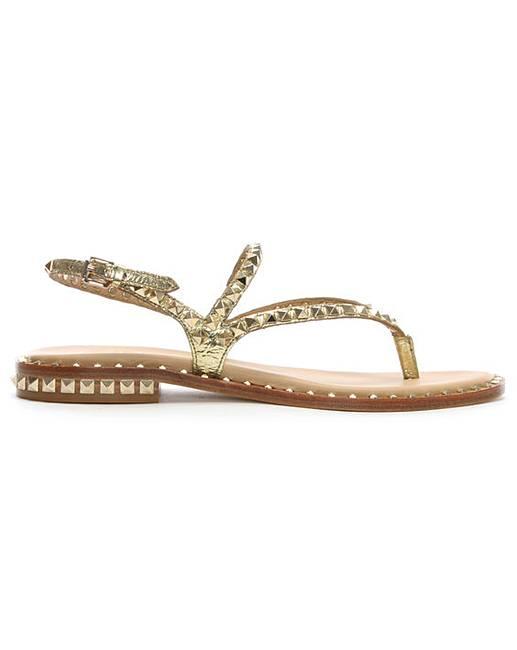 Ash Leather Studded Toe Post Sandals Black / Gold