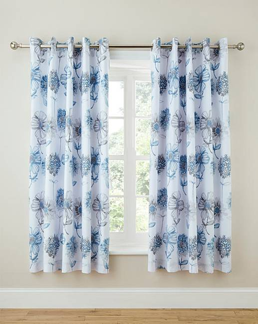 banbury pale blue floral lined curtains ambrose wilson. Black Bedroom Furniture Sets. Home Design Ideas