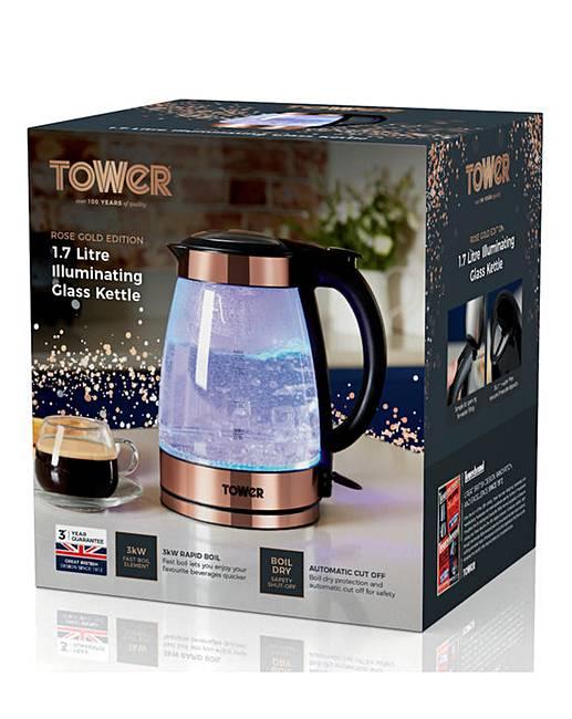 tower rose gold glass kettle fashion world. Black Bedroom Furniture Sets. Home Design Ideas