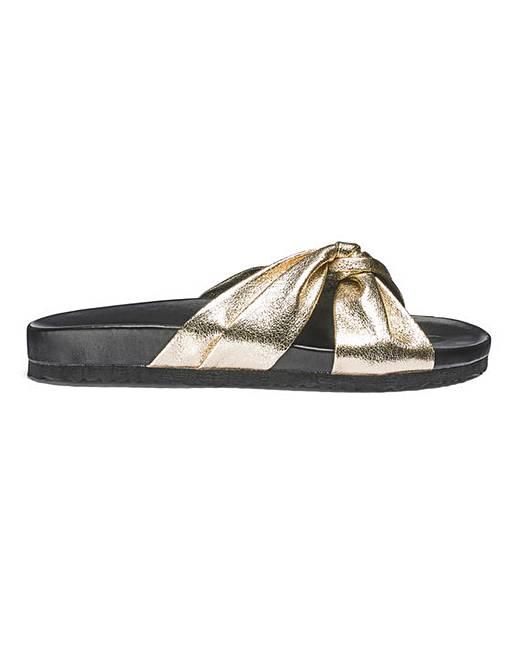 Faye Knot Sliders Wide E Fit Dark Green / Gold