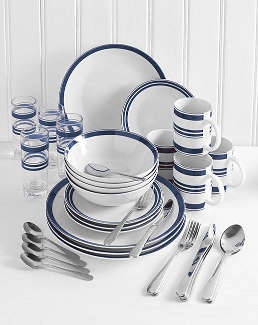 36 Piece Fall Winter Capsule Wardrobe: 36-Piece Bistro Stripe Combo Dinner Set