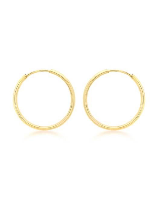 9ct Gold Plain Sleeper Earrings- 22 mm gmN1C