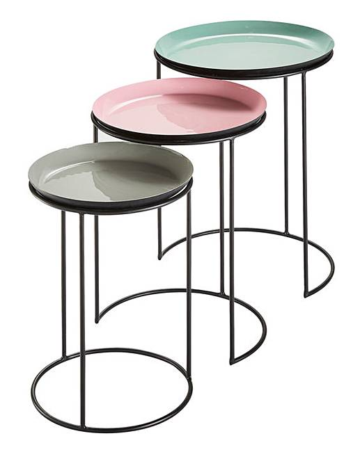 nesting tables. Memphis Set Of Three Coloured Nesting Tables A