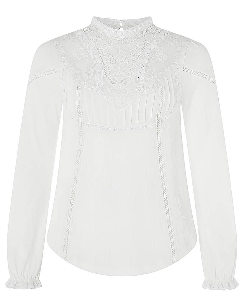Edwardian Blouses | White & Black Lace Blouses & Sweaters Monsoon Vicky Victoriana Woven Front Top £45.00 AT vintagedancer.com