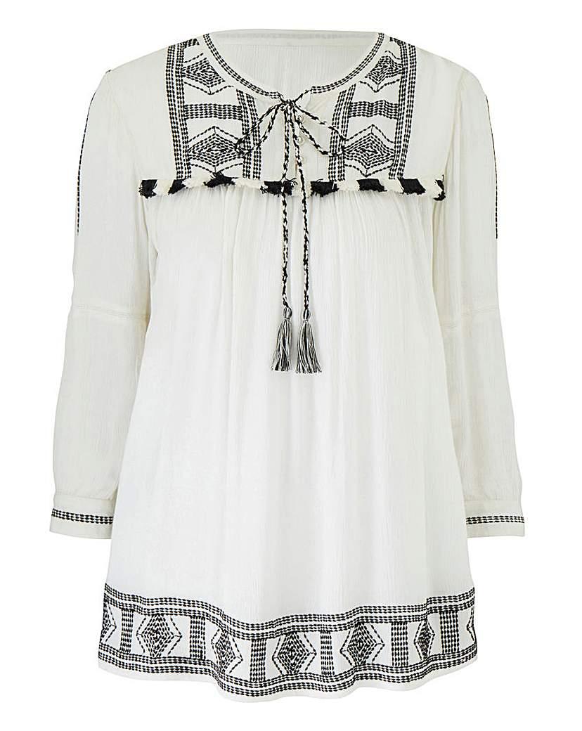 White/Black Crinkle Bib Detail Top