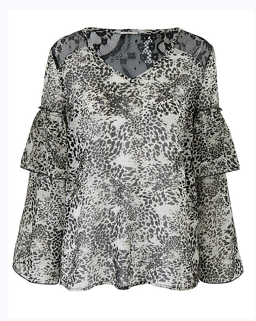 JD Williams Animal Print Layered Sleeve Top