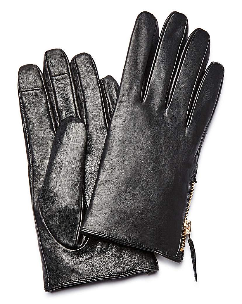 Leather Zip Detail Gloves