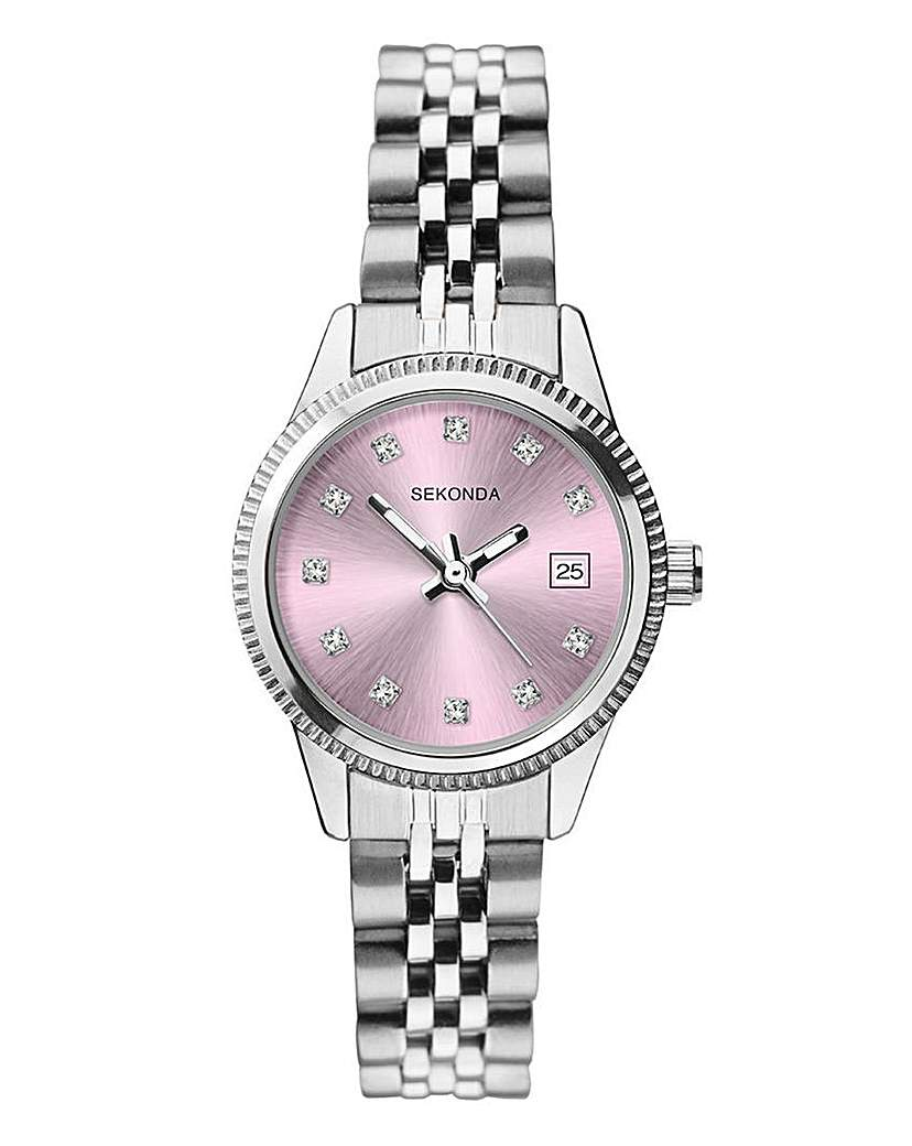 Sekonda Silver and Lilac Bracelet Watch