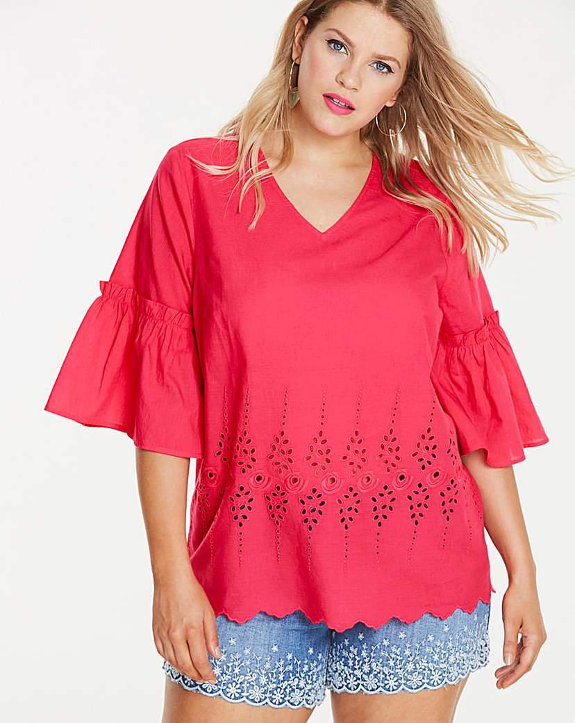 Pink V Neck Embroidered Blouse