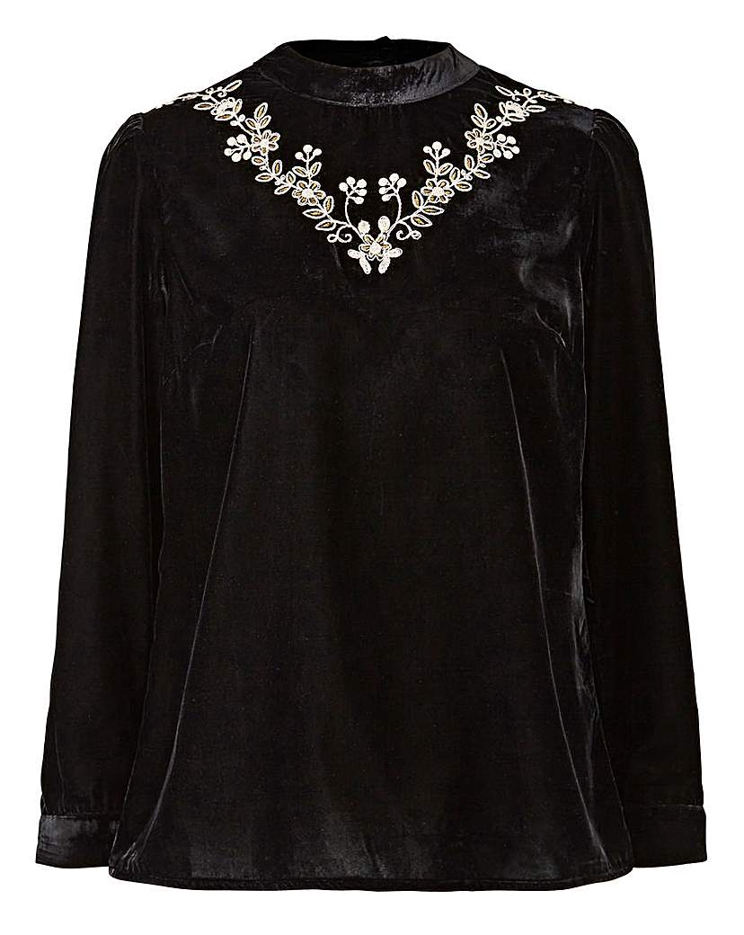 Capsule Black Velvet Embroidered High Neck Top