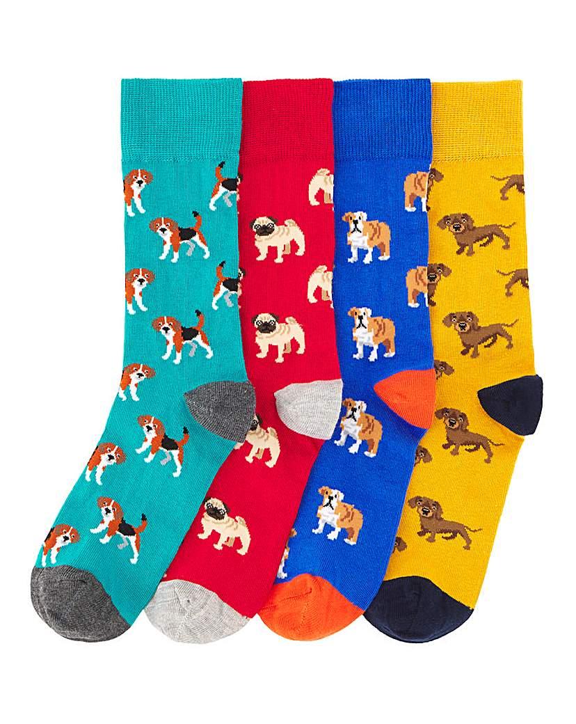 Pack of 4 Dog Socks