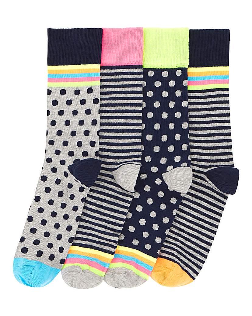 Pack of 4 Neon Pattern Socks