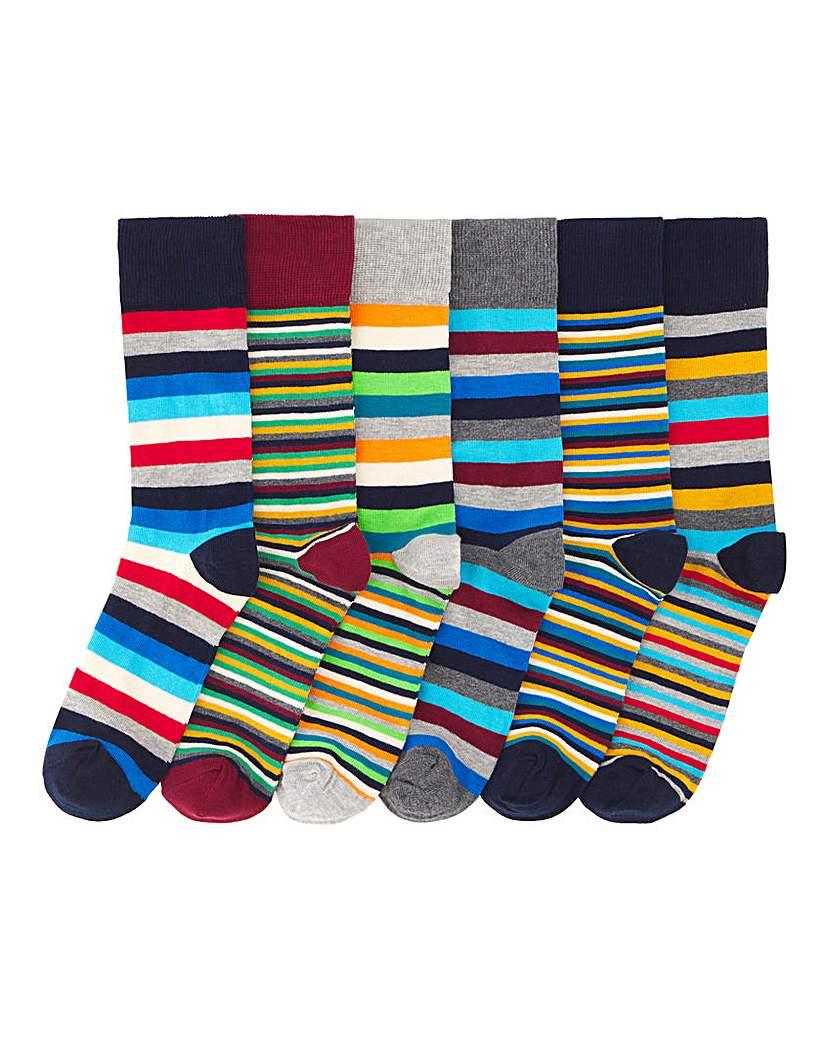 Pack of 6 Mixed Stripe Socks