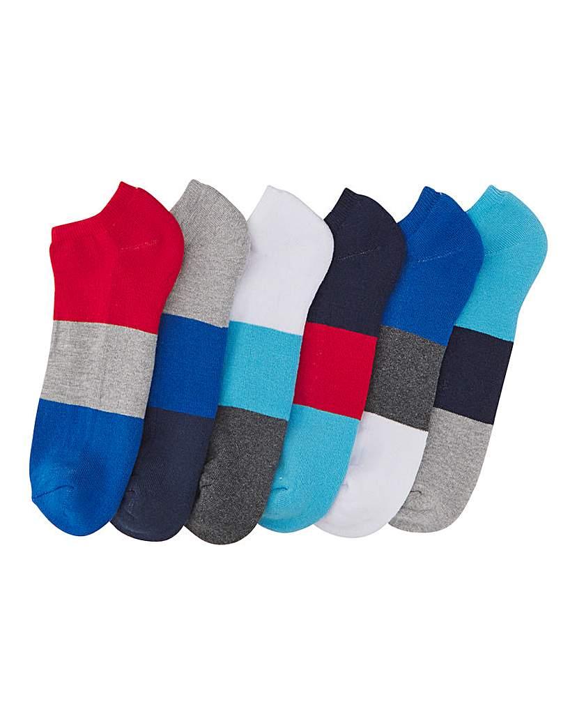 Pack of 6 Colour Block Trainer Socks