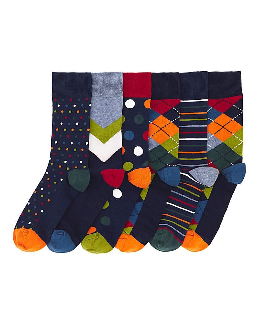 Pack of 6 Multi Pattern Argyle Socks