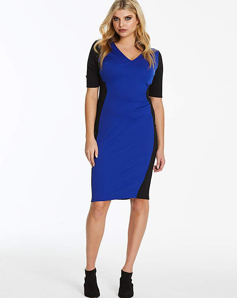 JD Williams Cobalt V-Neck Illusion Bodycon Dress
