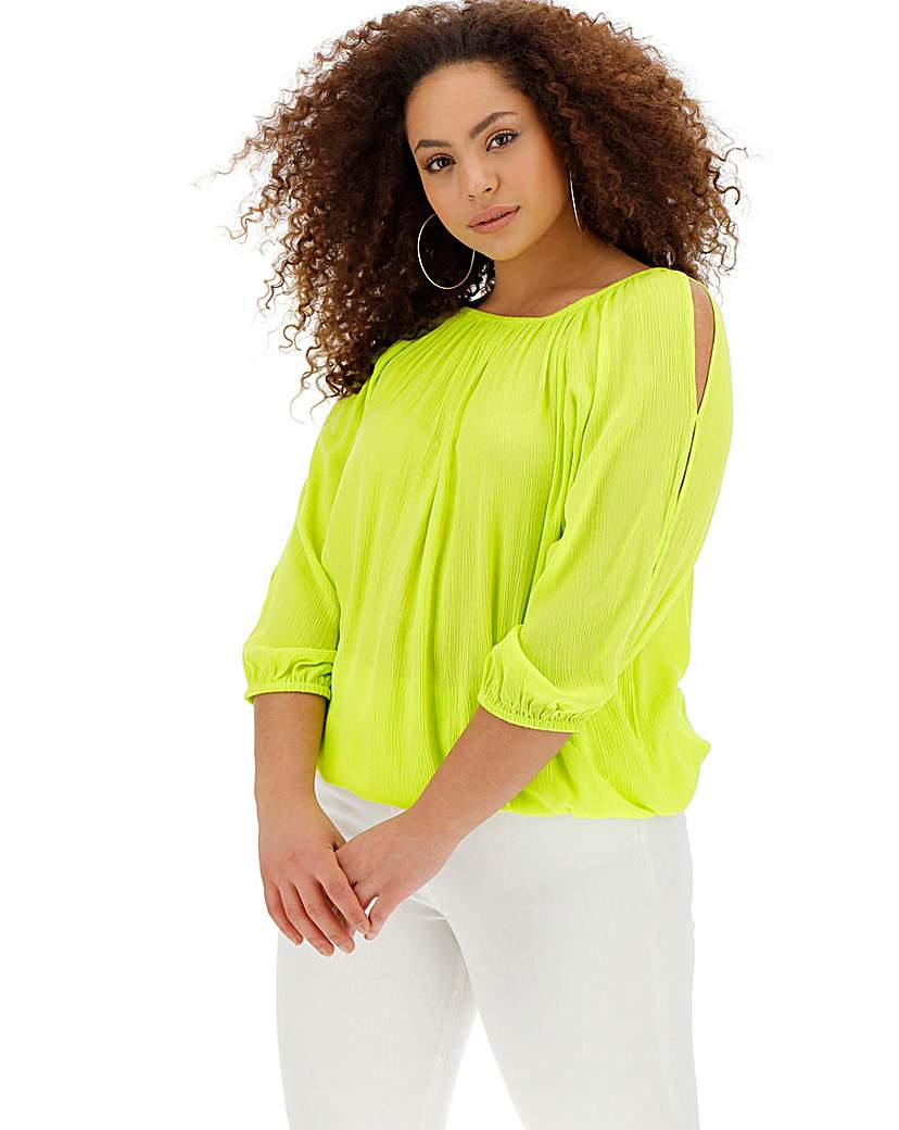 Peasant V-Neck Bubble Hem Top