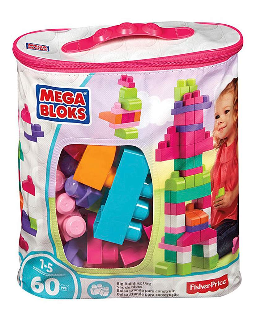 Image of Mega Bloks Big Building Bag 60pc Pink