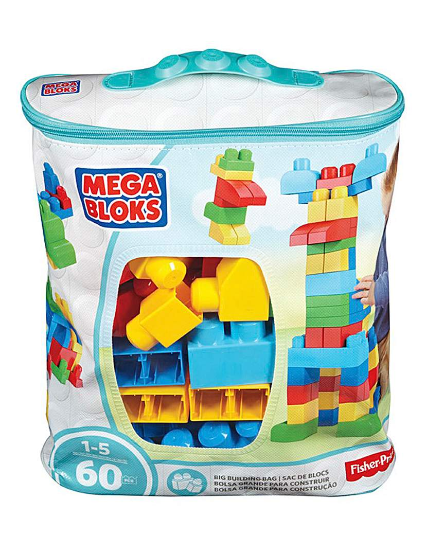 Image of Mega Bloks Big Building Bag 60pc Blue