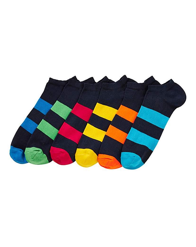 Capsule Pack of 6 Striped Trainer Socks