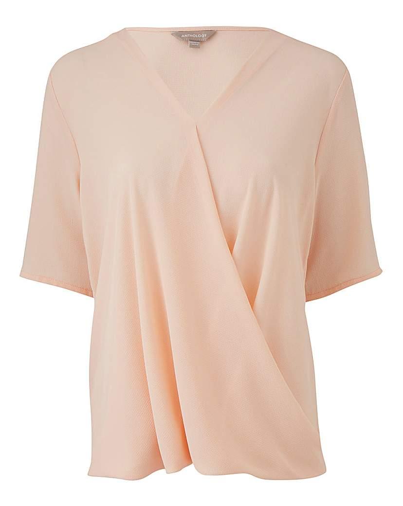 Pink Short Sleeve Wrap Blouse