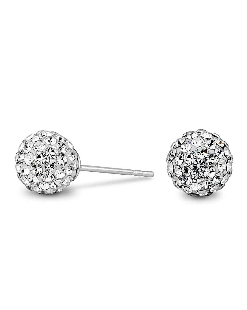 Simply Silver by Jon Richard Simply Silver Pave Ball Stud Earring