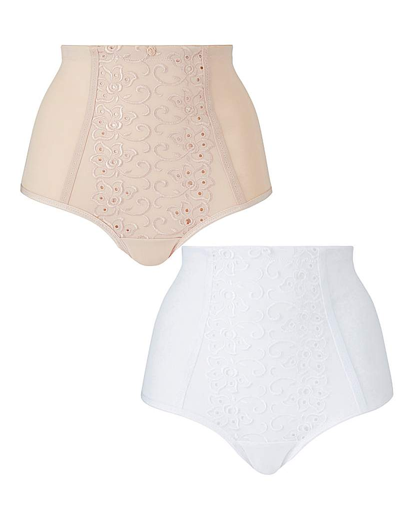 2 Pack Rose Natural/White Control Briefs