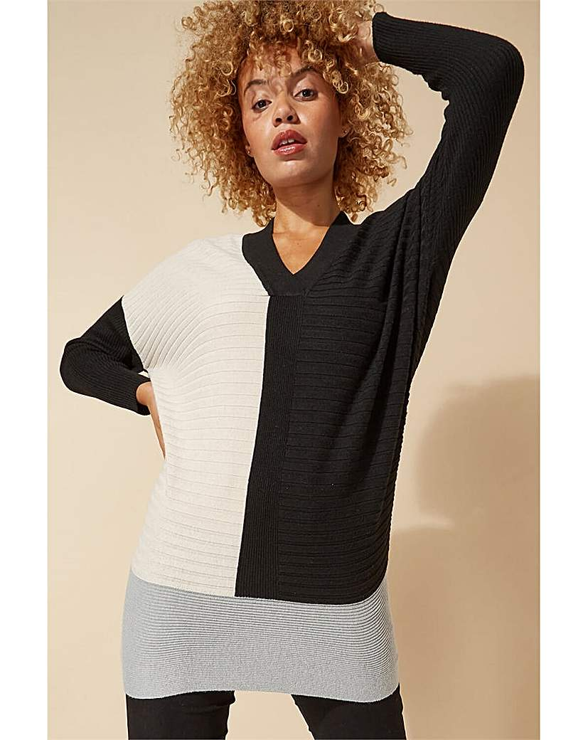 roman v-neck colour block jumper