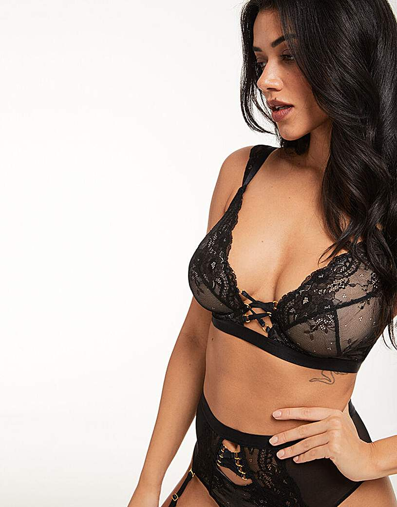 Image of Figleaves Lace Up Mono-Wire Plunge Bra