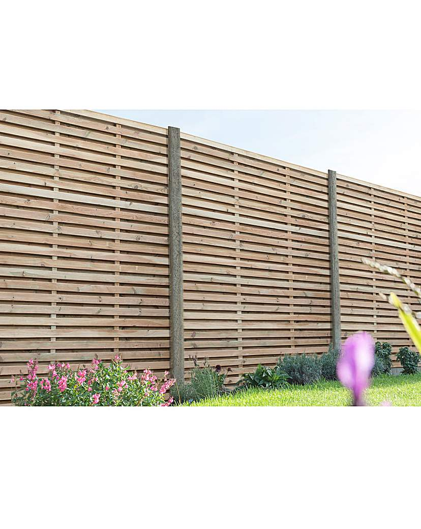 Image of 1.8m Slatted Fence Panel Pack of 3