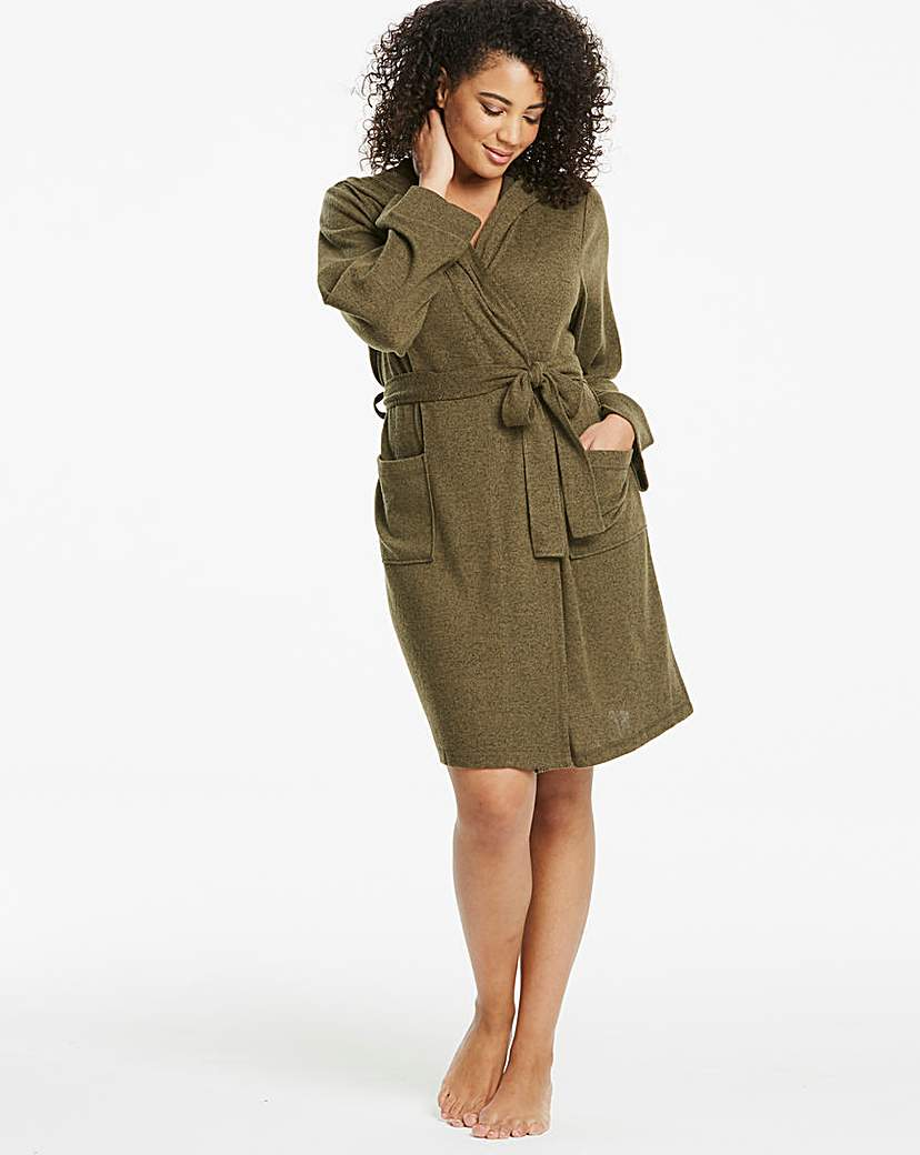 Pretty Secrets Pretty Secrets Khaki Knitted Hooded Gown