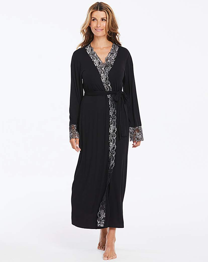 Ella Lace Black Sparkle Long Robe L50in