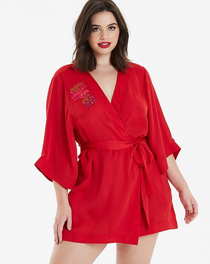 Pretty Secrets Satin Applique Kimono