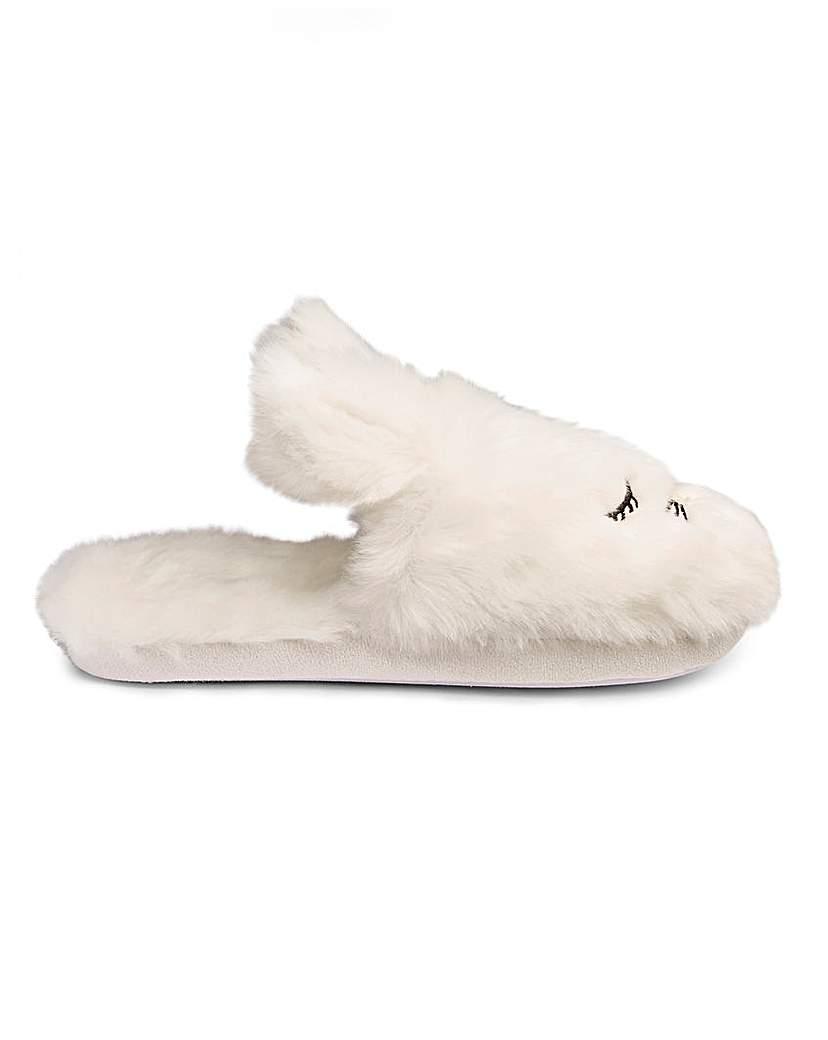 Heavenly Soles Rabbit Mule Slipper E Fit