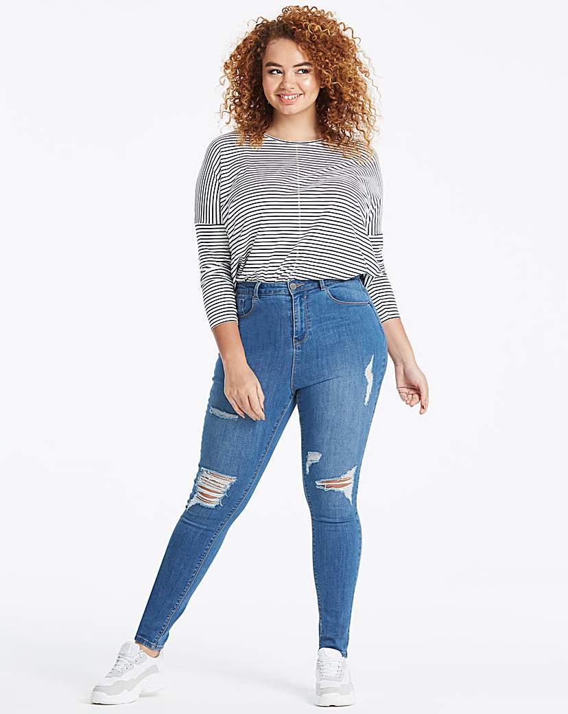 Simply Be Blue Chloe Rip High Waist Skinny Jeans
