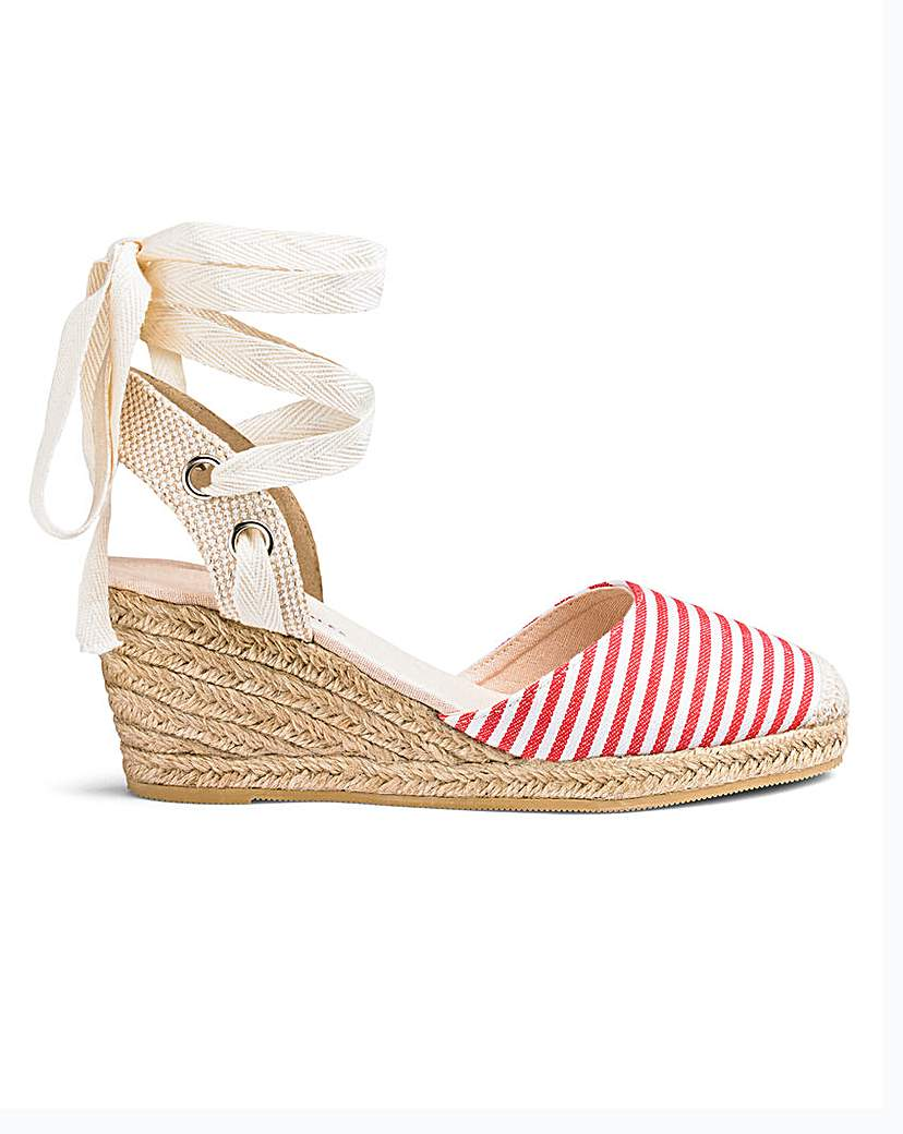 JDW Leg Tie Wedge Espadrilles EEE Fit