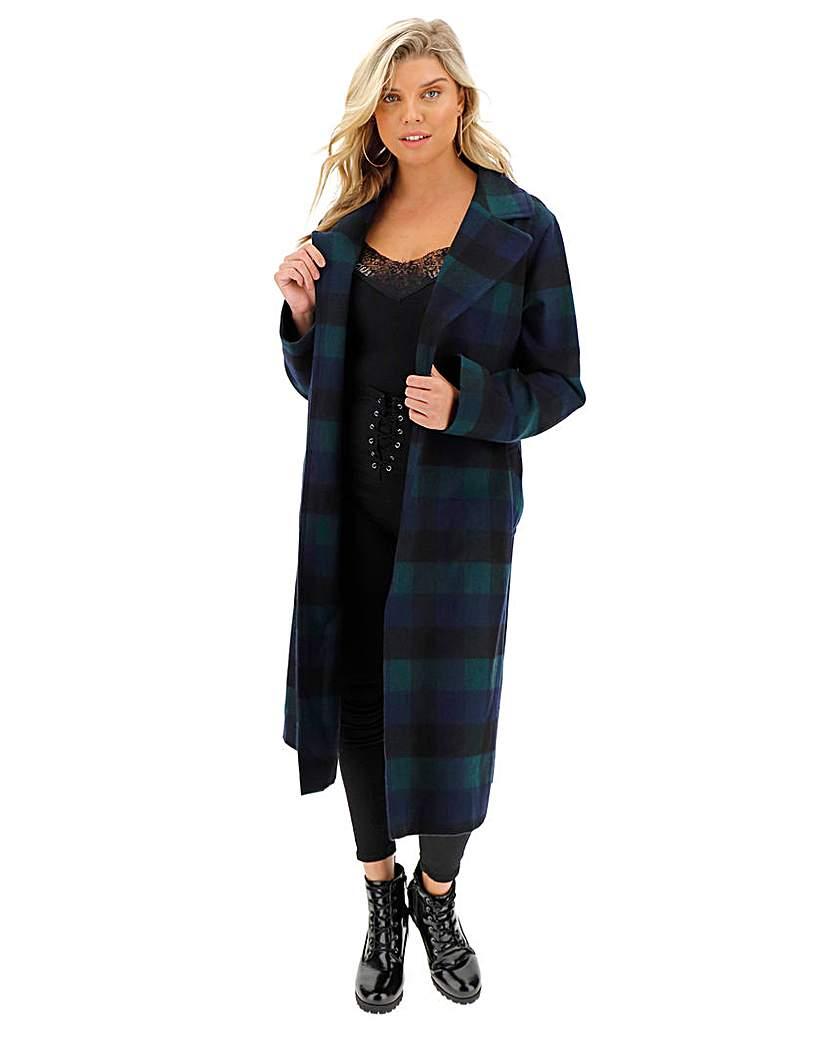 Helene Berman Check Wrap Longline Coat