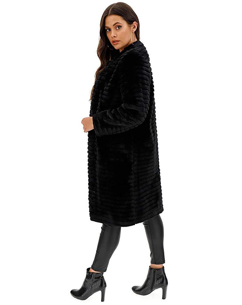 Helene Berman Black Textured Stripe Coat
