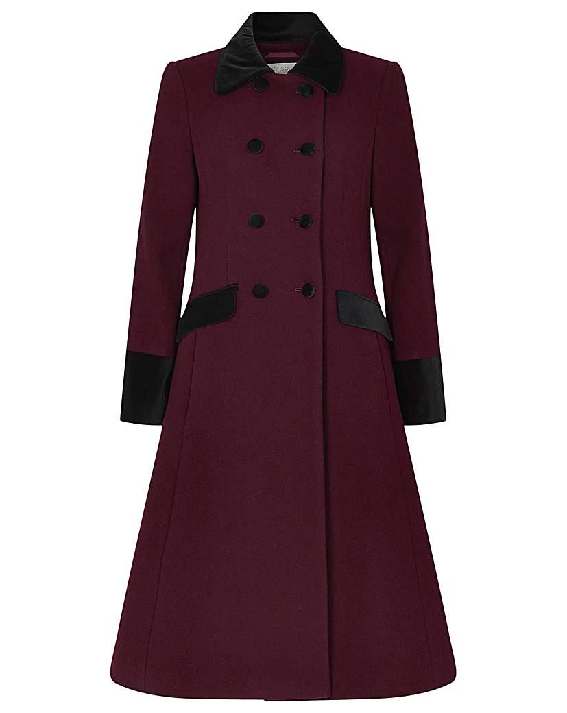 1950s Coats and Jackets History Monsoon Velvet Trim Skirted Coat £165.00 AT vintagedancer.com