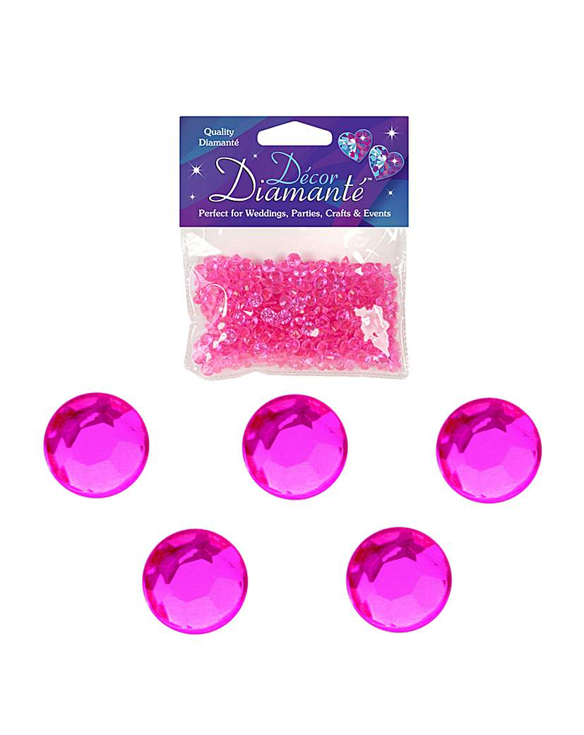 Image of Decor Diamonte Diamonds Hot Pink x 6