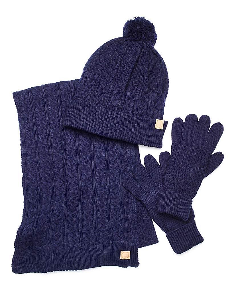 Capsule Navy Hat, Scarf & Gloves Set