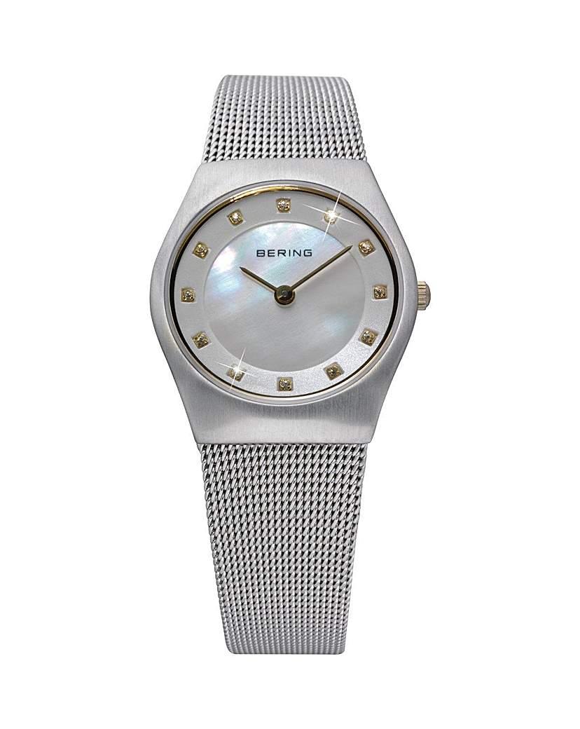 Bering Ladies MoP Mesh Bracelet Watch