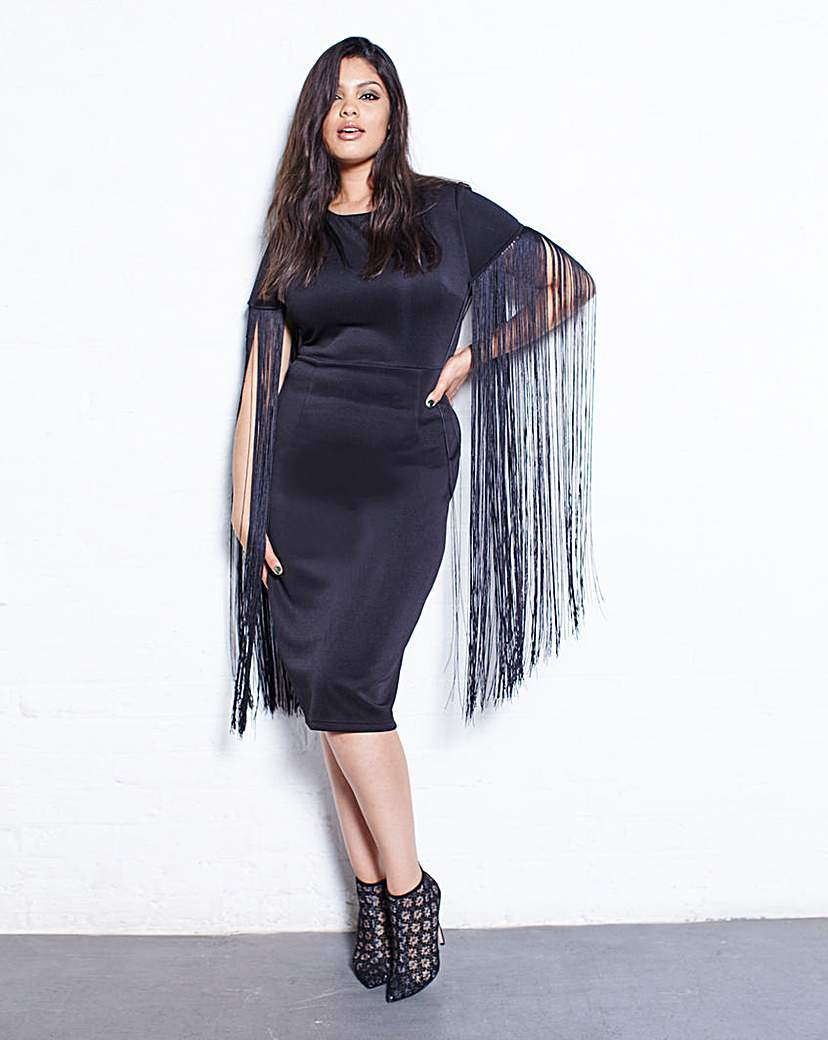 Lavish Alice Lavish Alice Fringe Sleeve Midi Dress