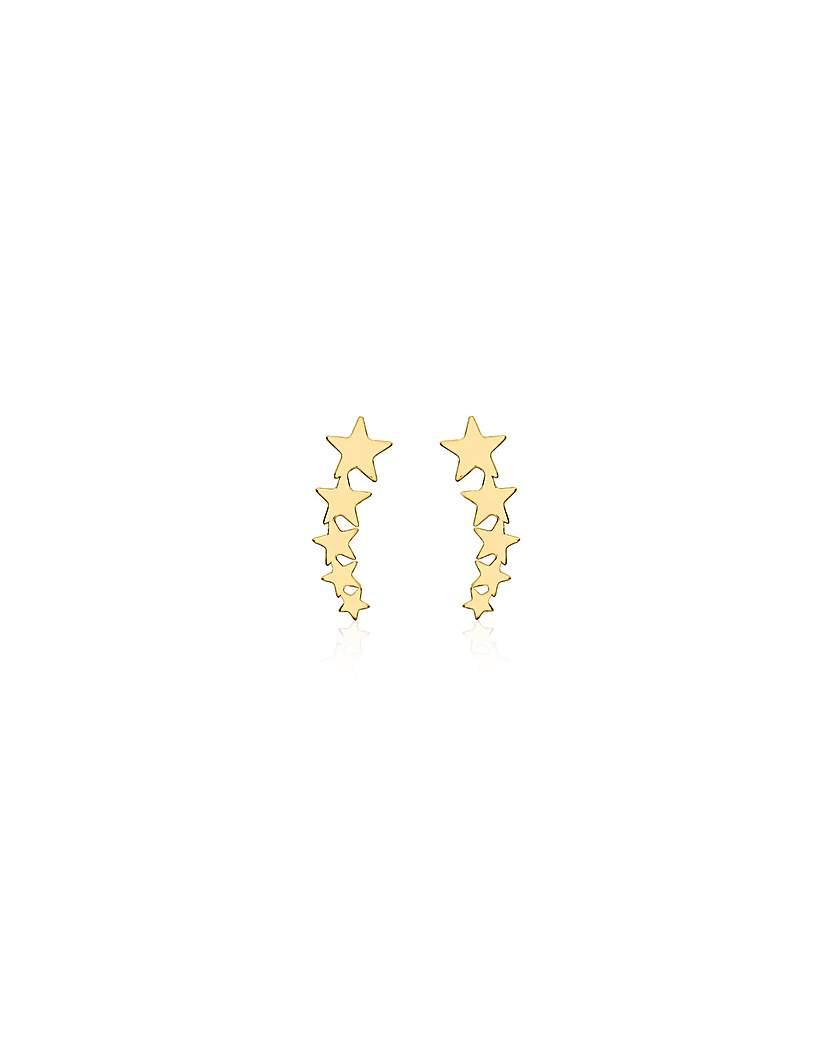 9 Carat Gold Five Star Stud Earrings