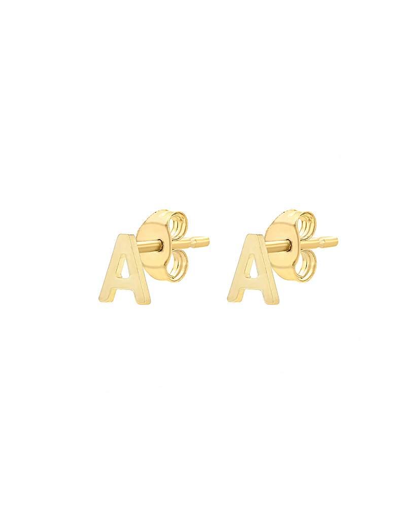9 Carat Gold Initial Stud Earrings